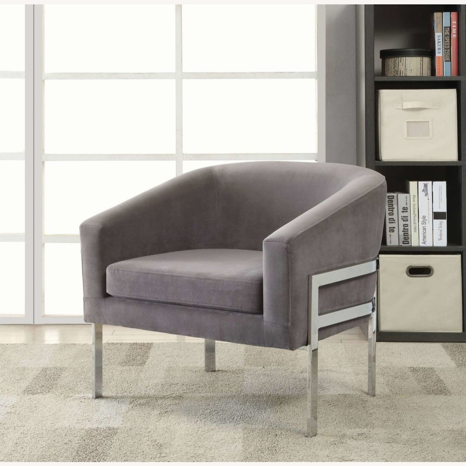 Contemporary Accent Chair in Grey Fabric - image-4