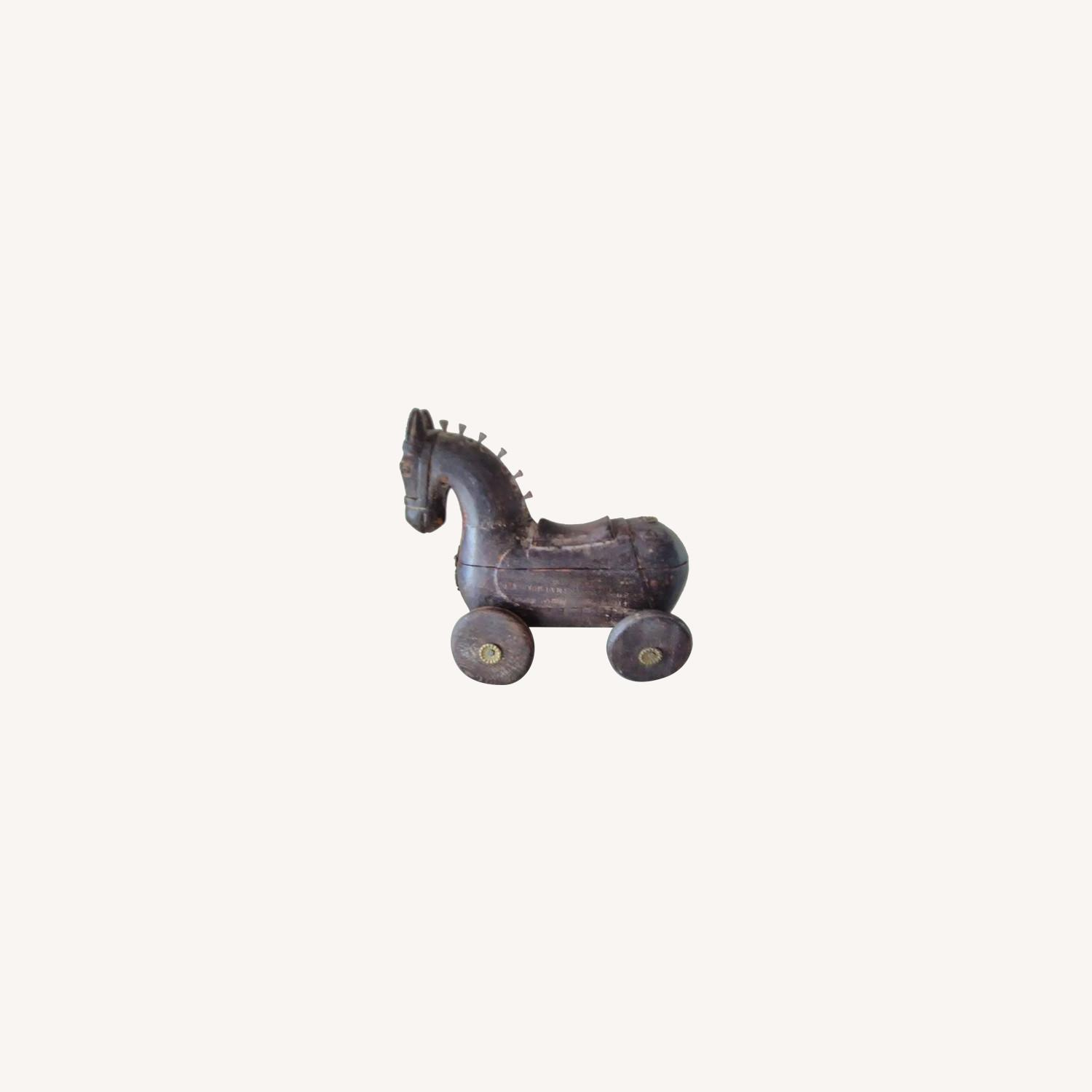 Vintage Handcrafted Wooden Horse On Wheels - image-0
