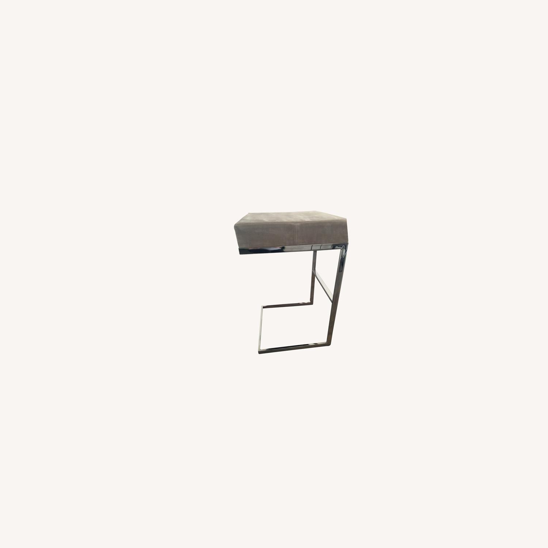 Desiron Taupe Antelope Suede Chrome Bar Stools (2) - image-0