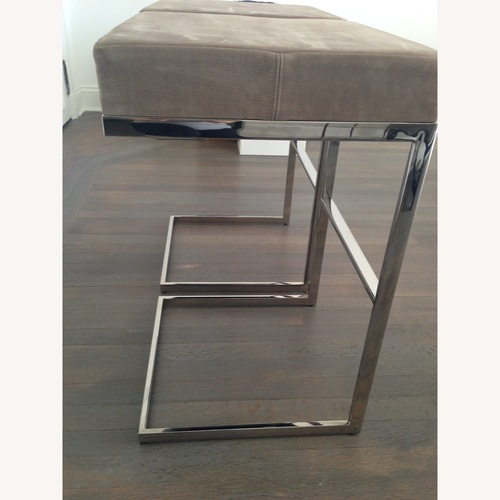 Used Desiron Taupe Antelope Suede Chrome Bar Stools (2) for sale on AptDeco