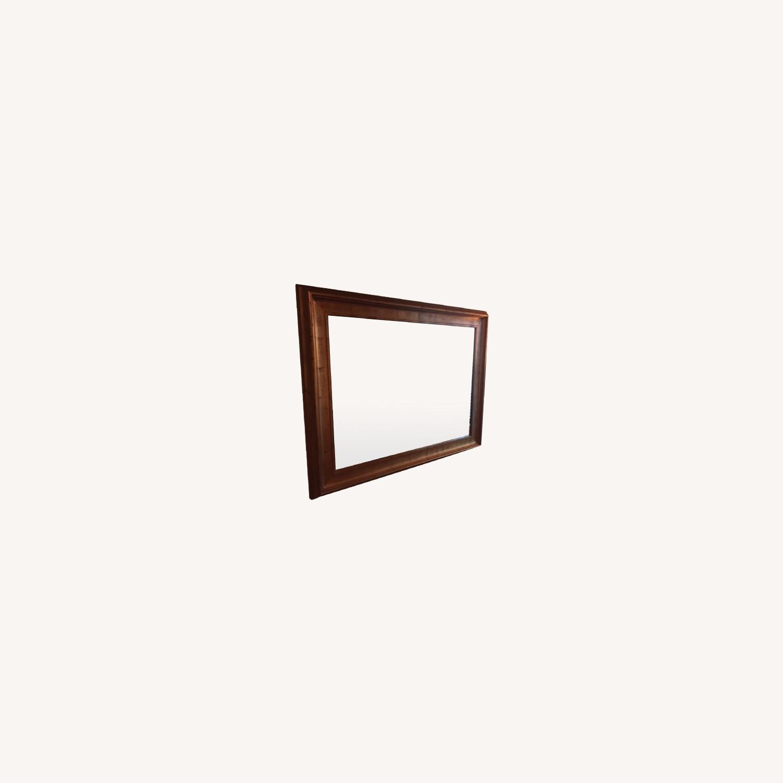 Antiqued Gold Framed Beveled Mirror - image-0