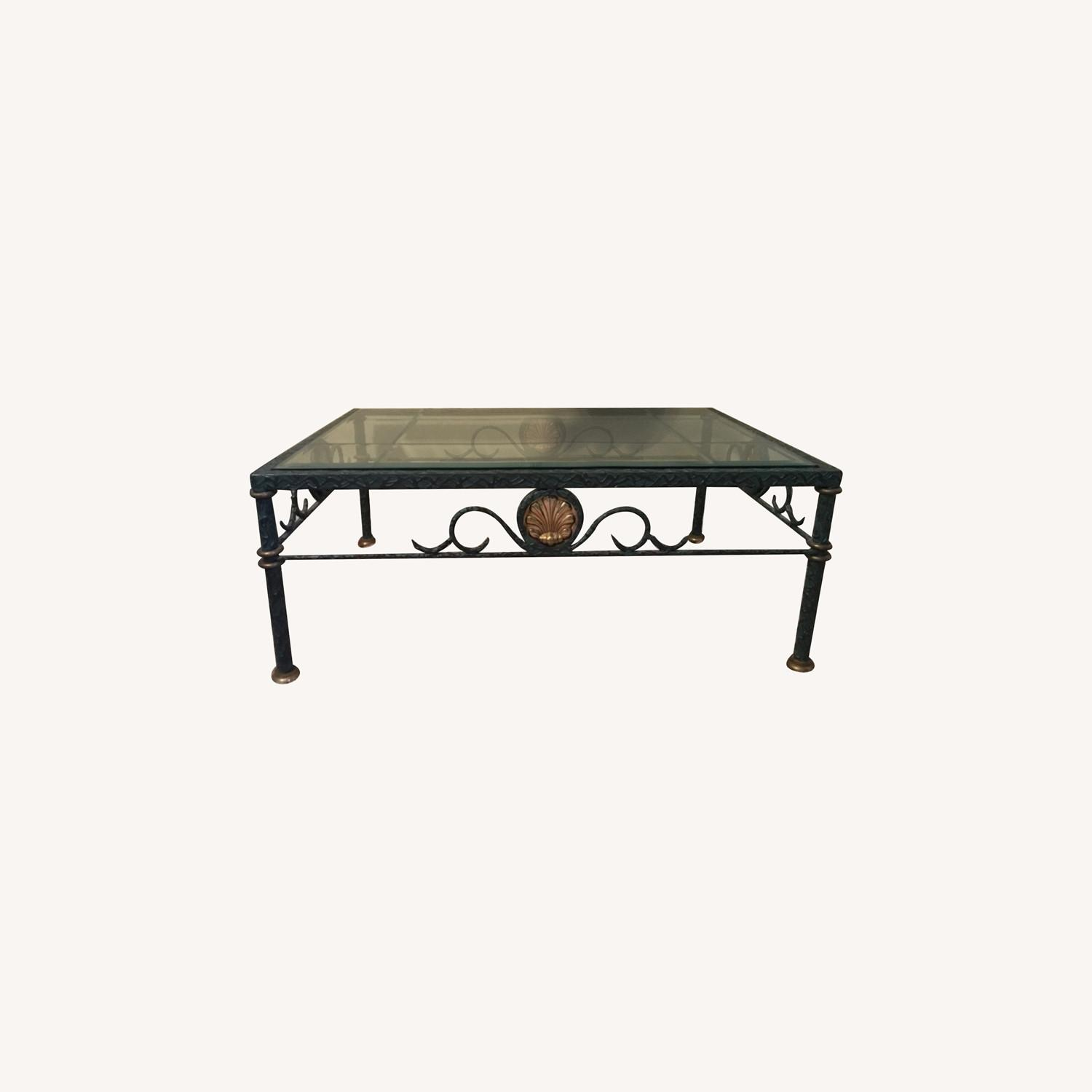Beveled Glass and Iron Coffee Table - image-0