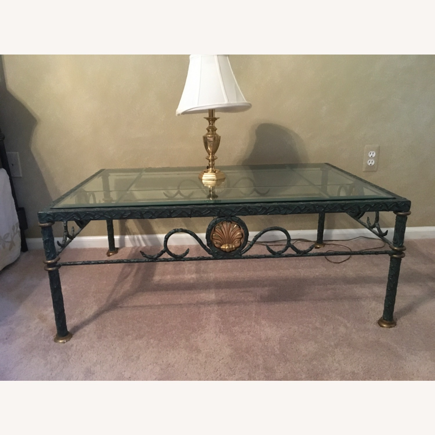 Beveled Glass and Iron Coffee Table - image-2