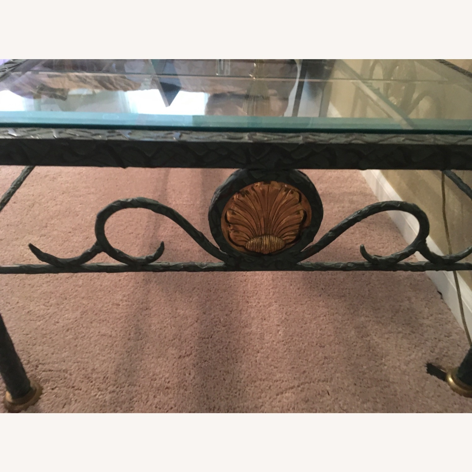 Beveled Glass and Iron Coffee Table - image-4