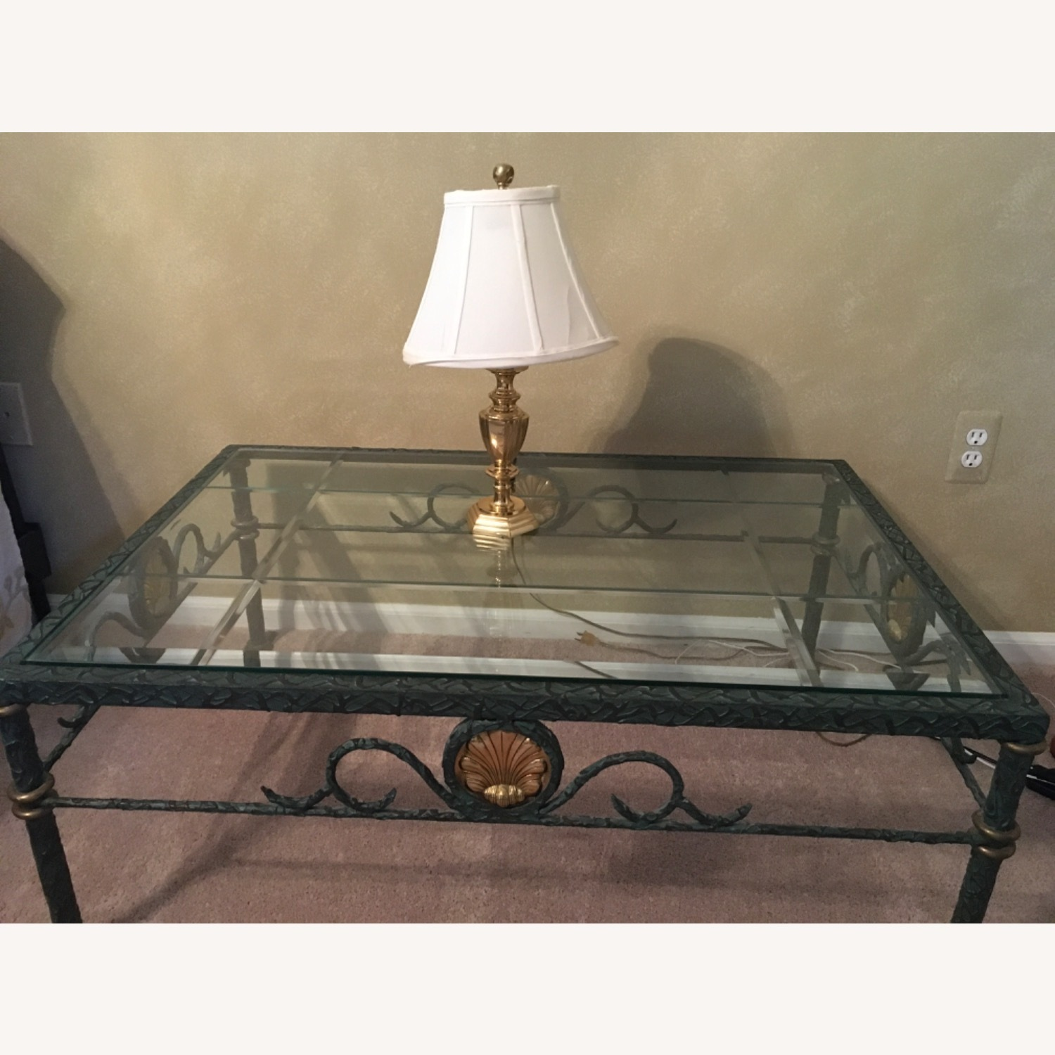 Beveled Glass and Iron Coffee Table - image-1