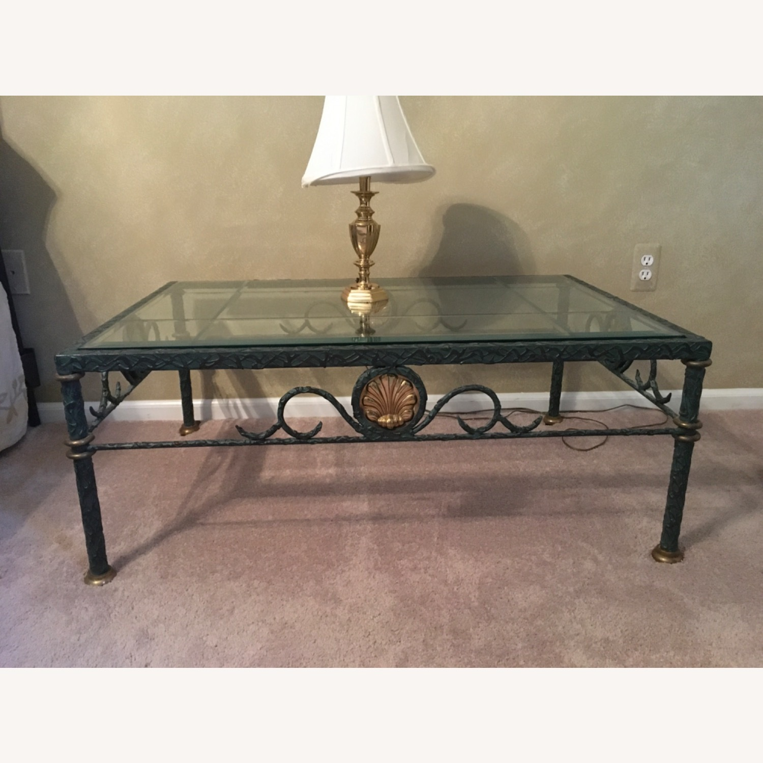 Beveled Glass and Iron Coffee Table - image-3