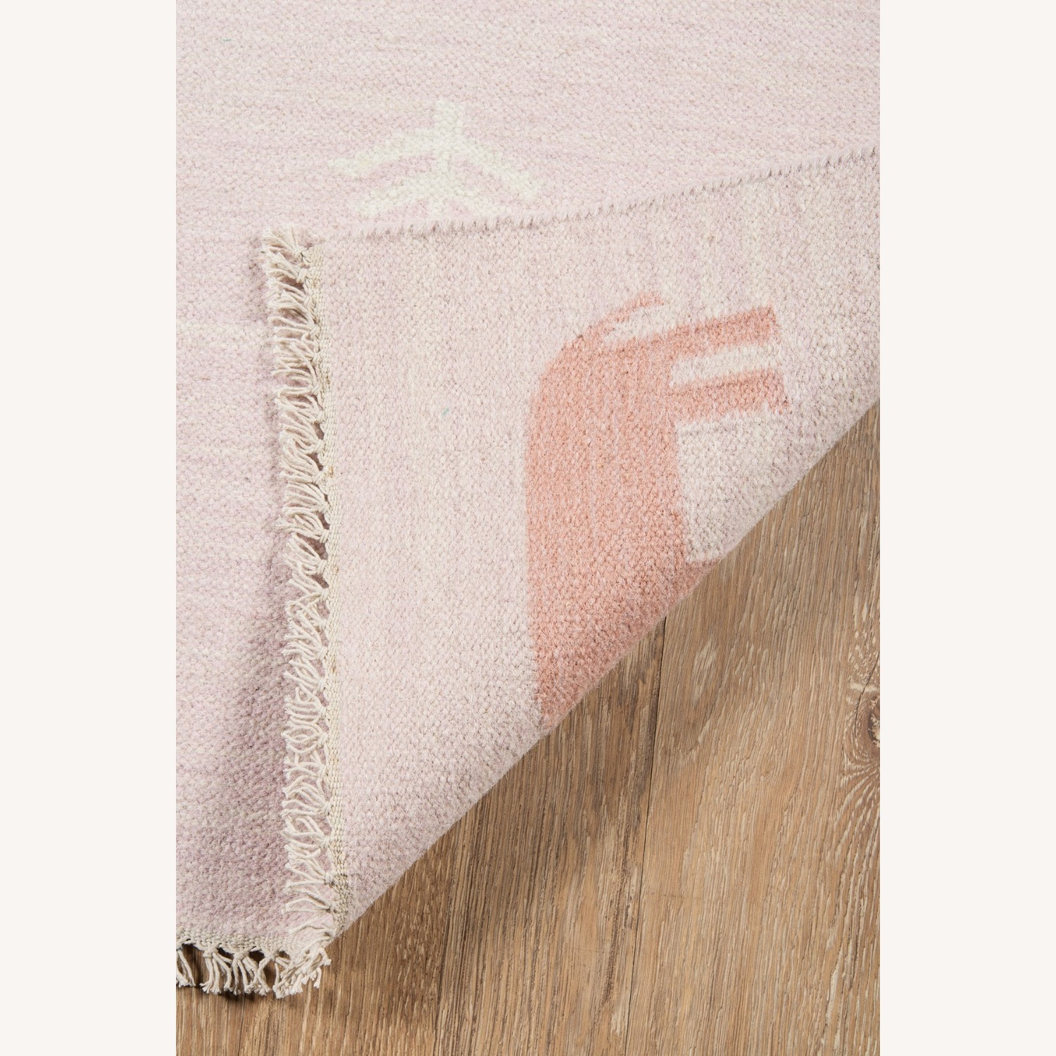Macy's Pink Wool Handwoven Rug with Animals - image-3