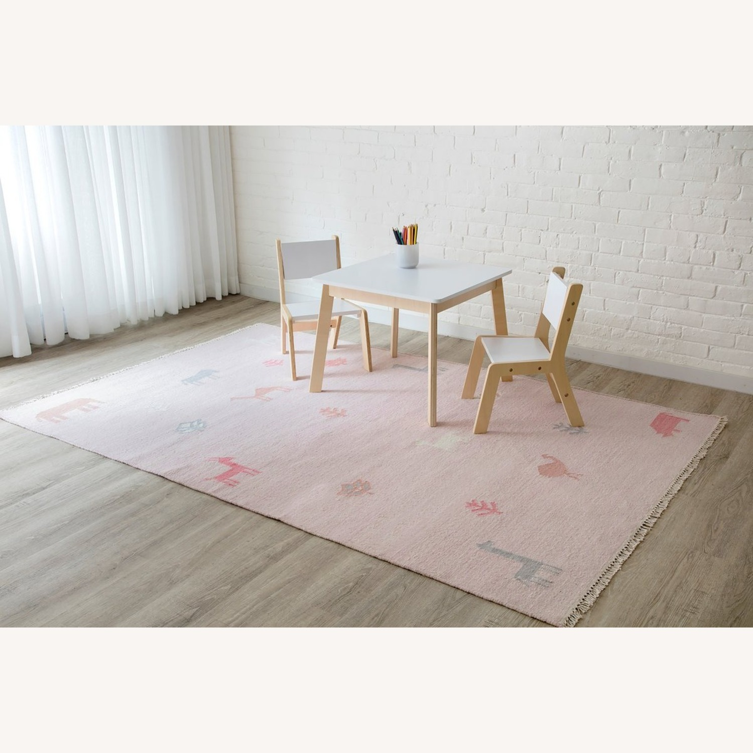 Macy's Pink Wool Handwoven Rug with Animals - image-2