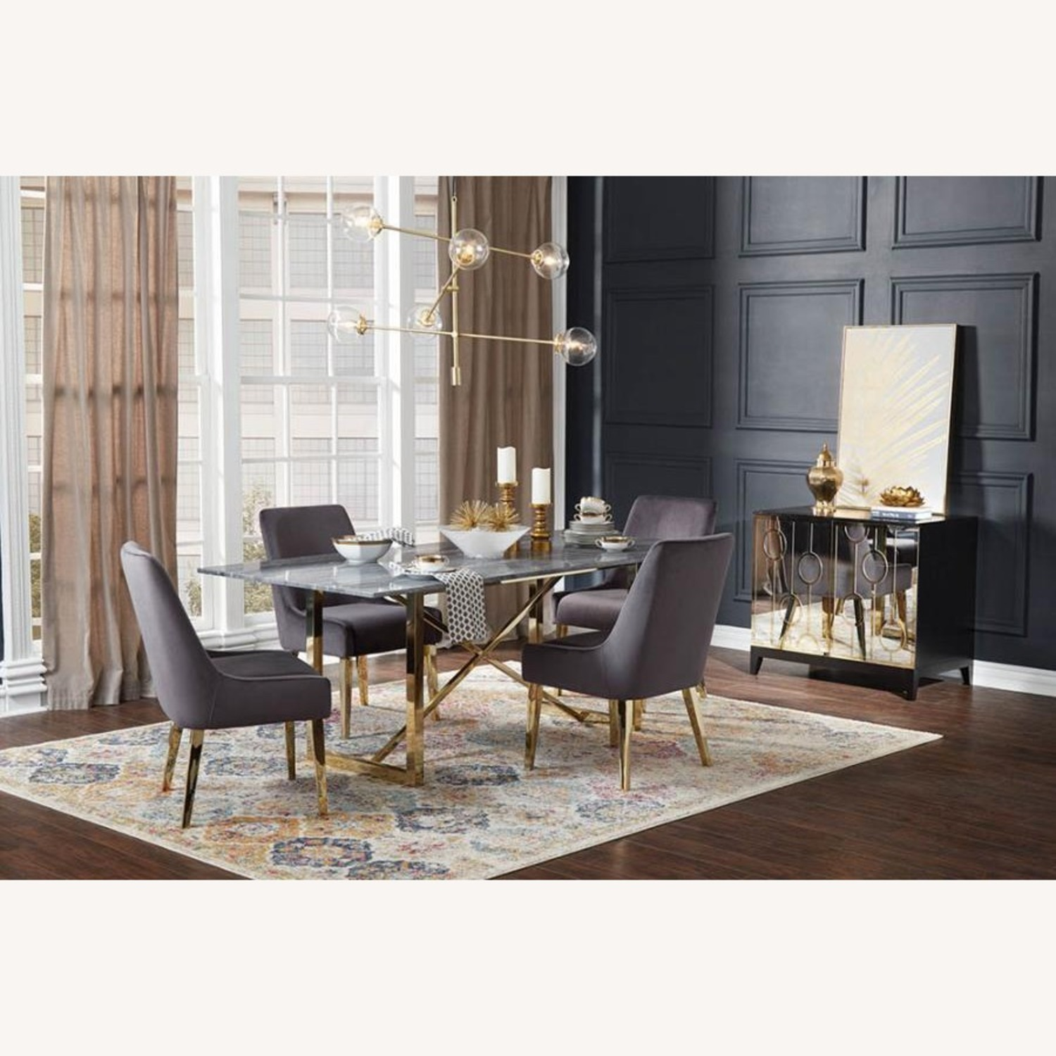 Dining Chair Upholstered In Grey Fabric - image-3
