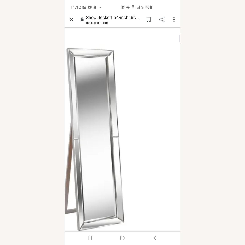 Overstock Beckett Silver Stand Mirror - image-3