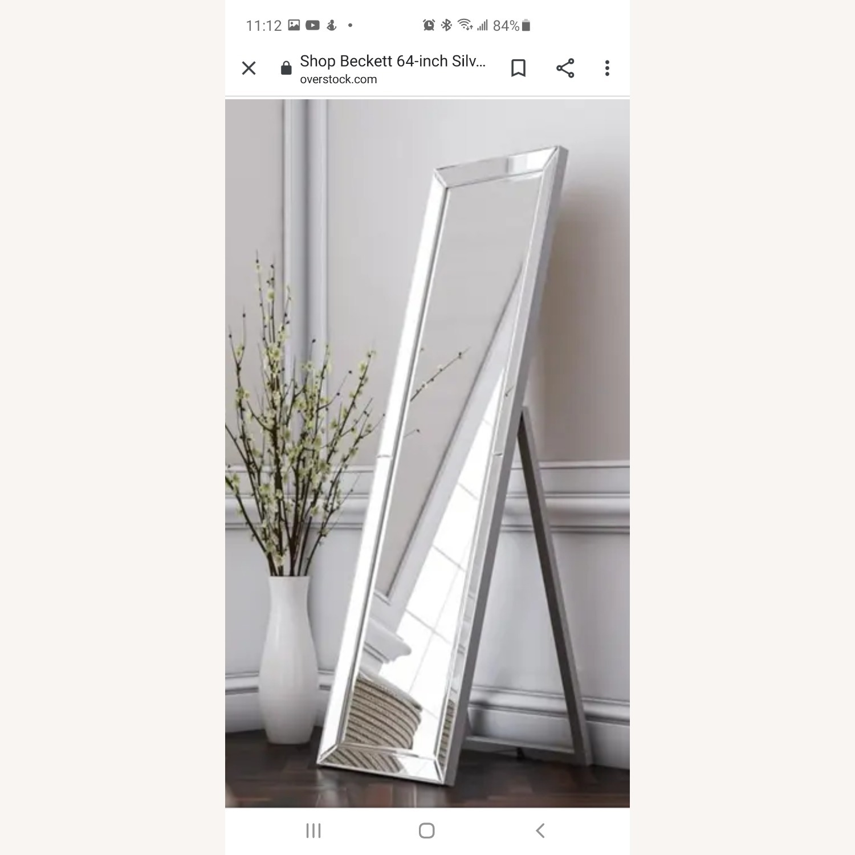 Overstock Beckett Silver Stand Mirror - image-5