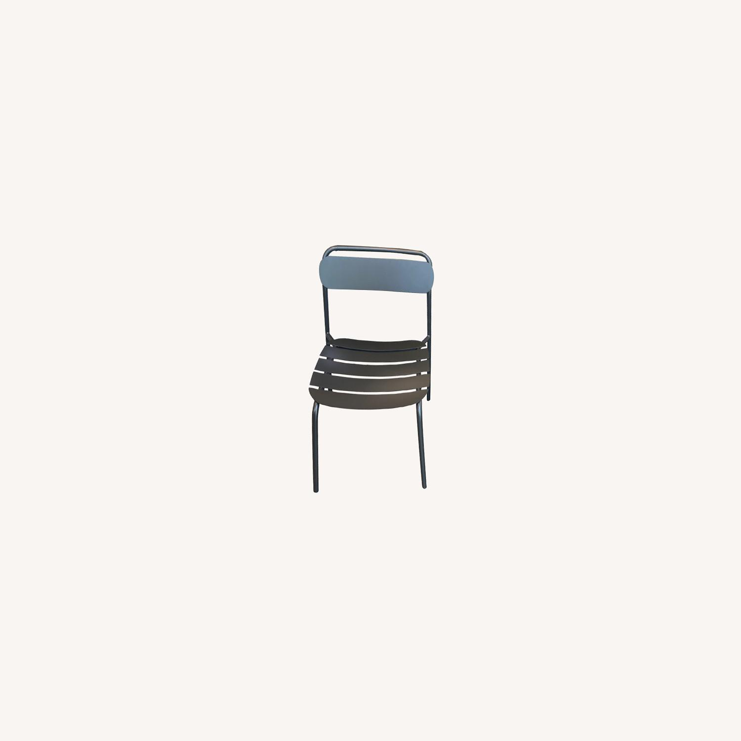 West Elm Metal Stacking Outdoor Chairs - image-0