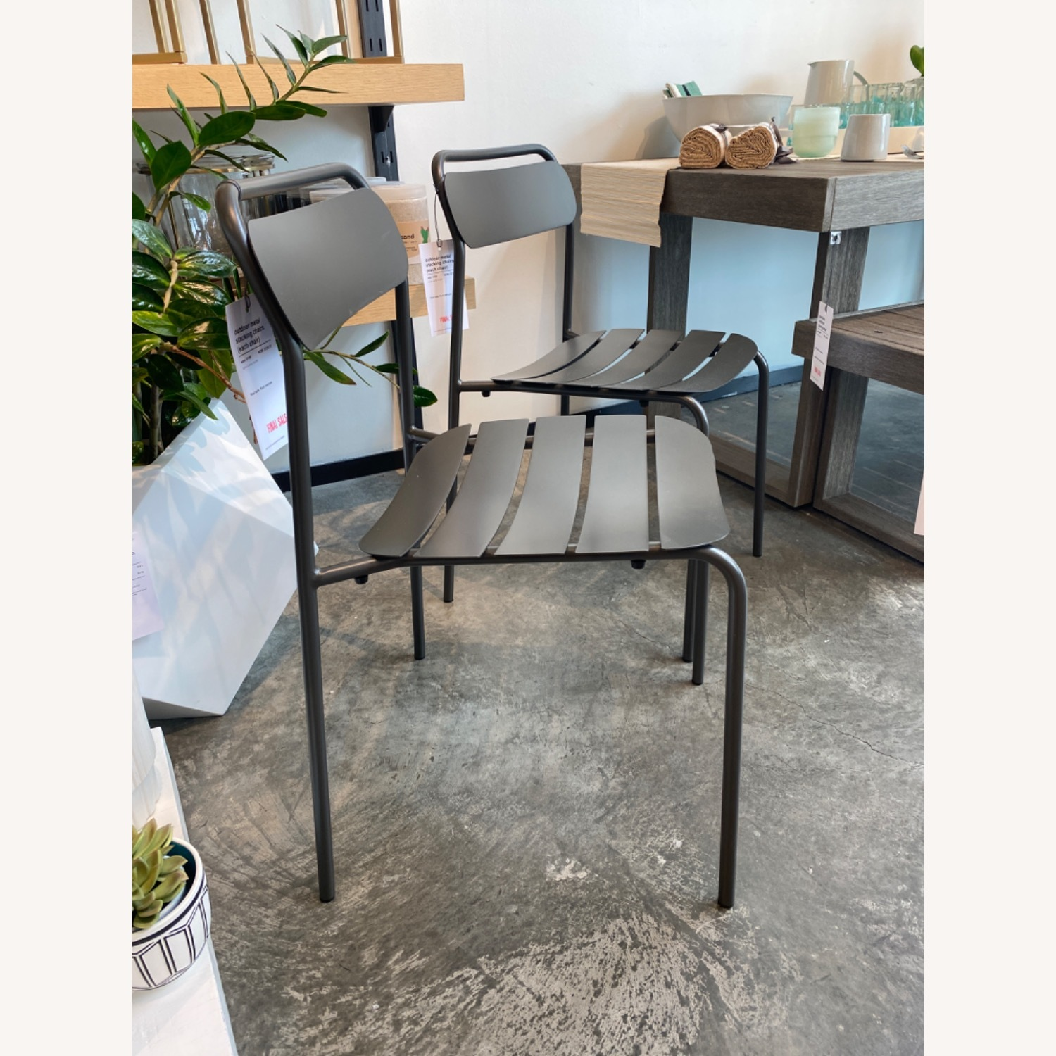 West Elm Metal Stacking Outdoor Chairs - image-2