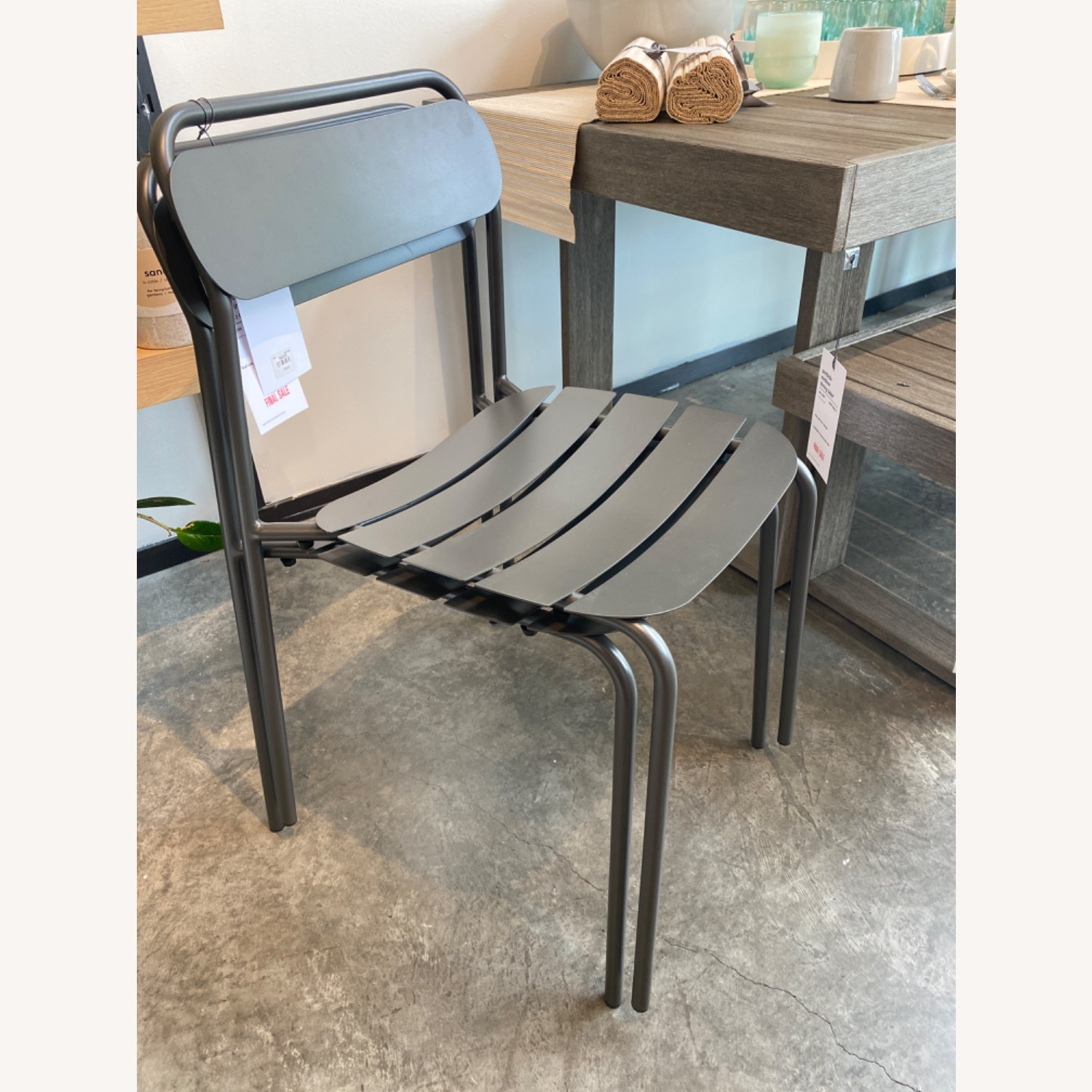 West Elm Metal Stacking Outdoor Chairs - image-4