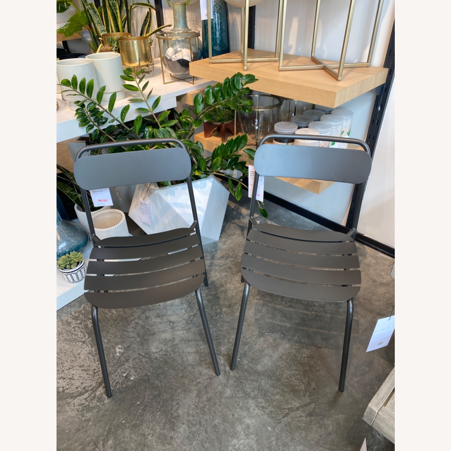 West Elm Metal Stacking Outdoor Chairs - image-1