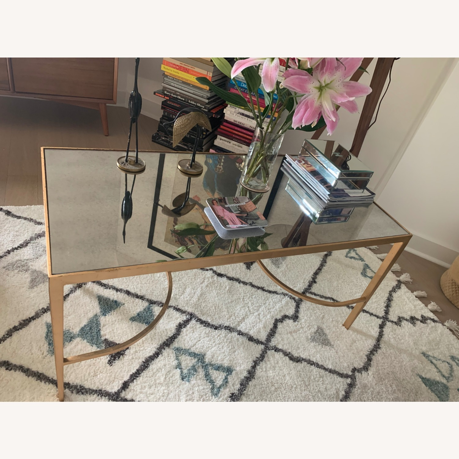 Words Away Mirrored & Gold Leaf Coffee Table - image-3