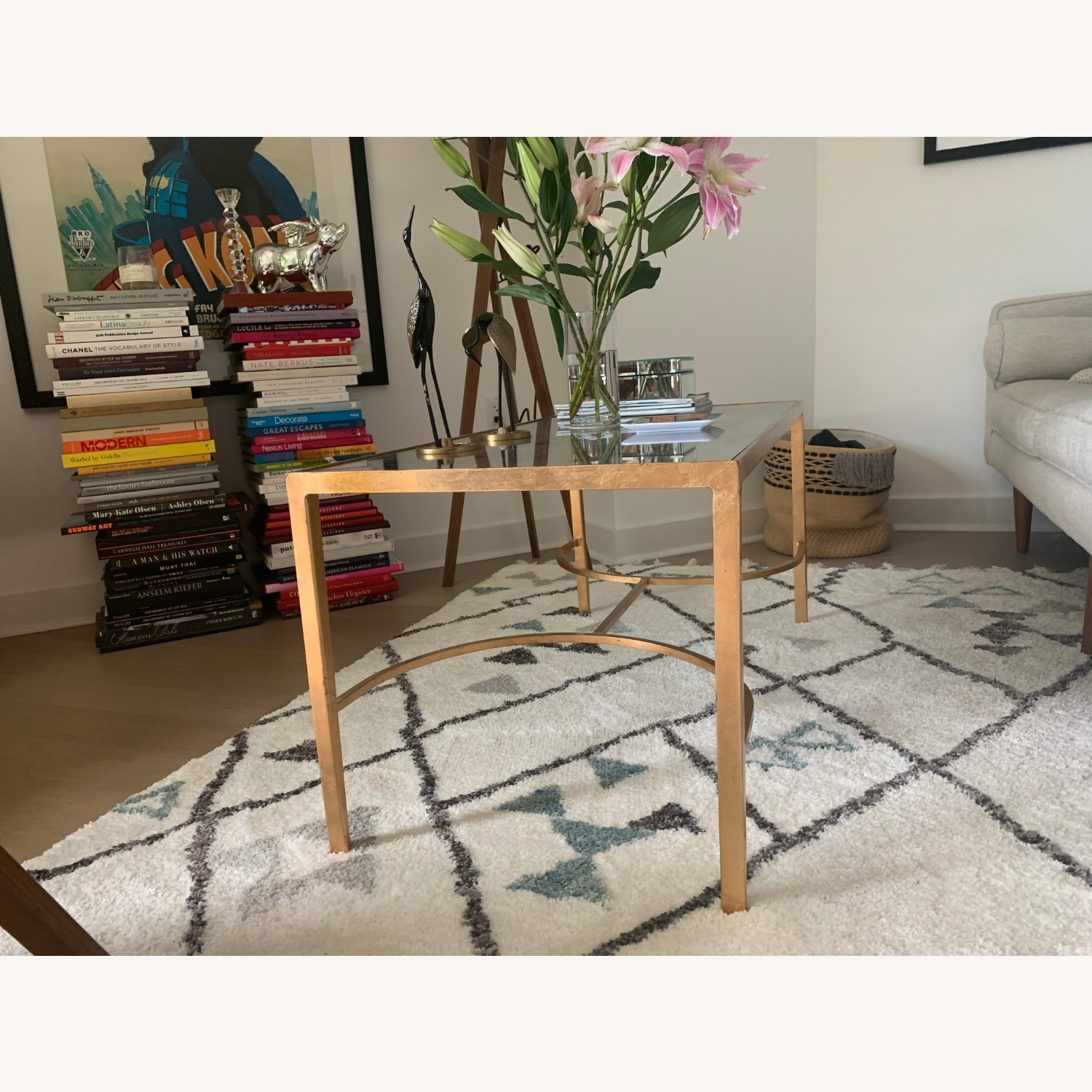Words Away Mirrored & Gold Leaf Coffee Table - image-2