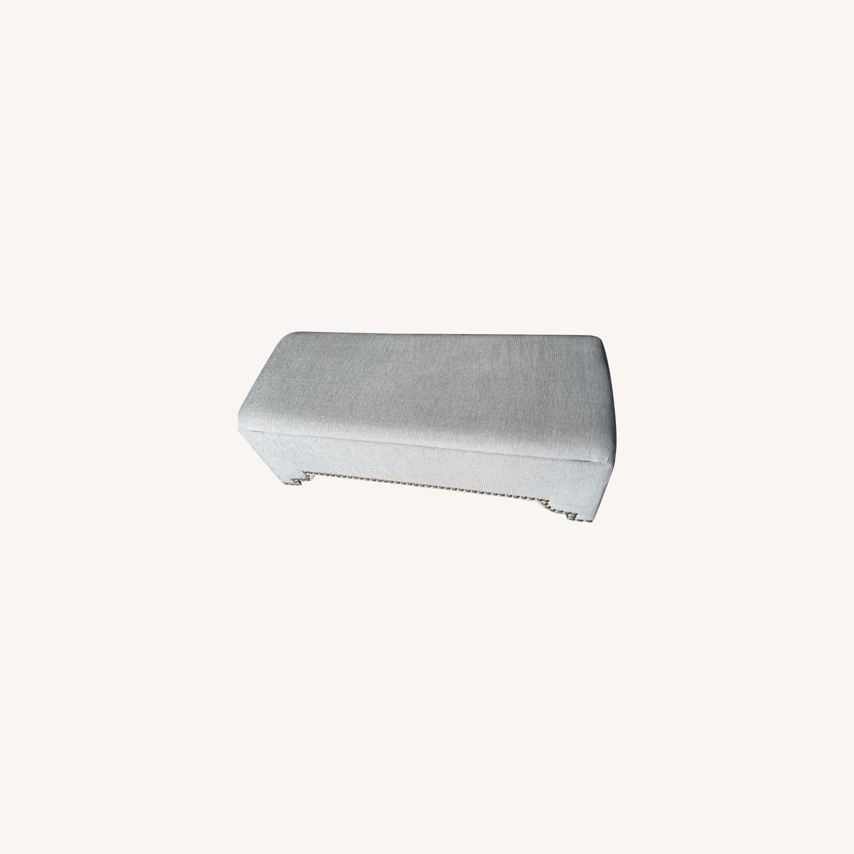 Pier 1 Imports Grey Upholstered Storage Ottoman - image-0