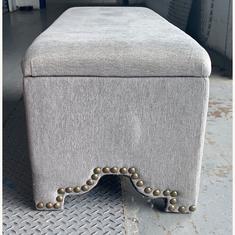 Pier 1 Imports Grey Upholstered Storage Ottoman - image-2