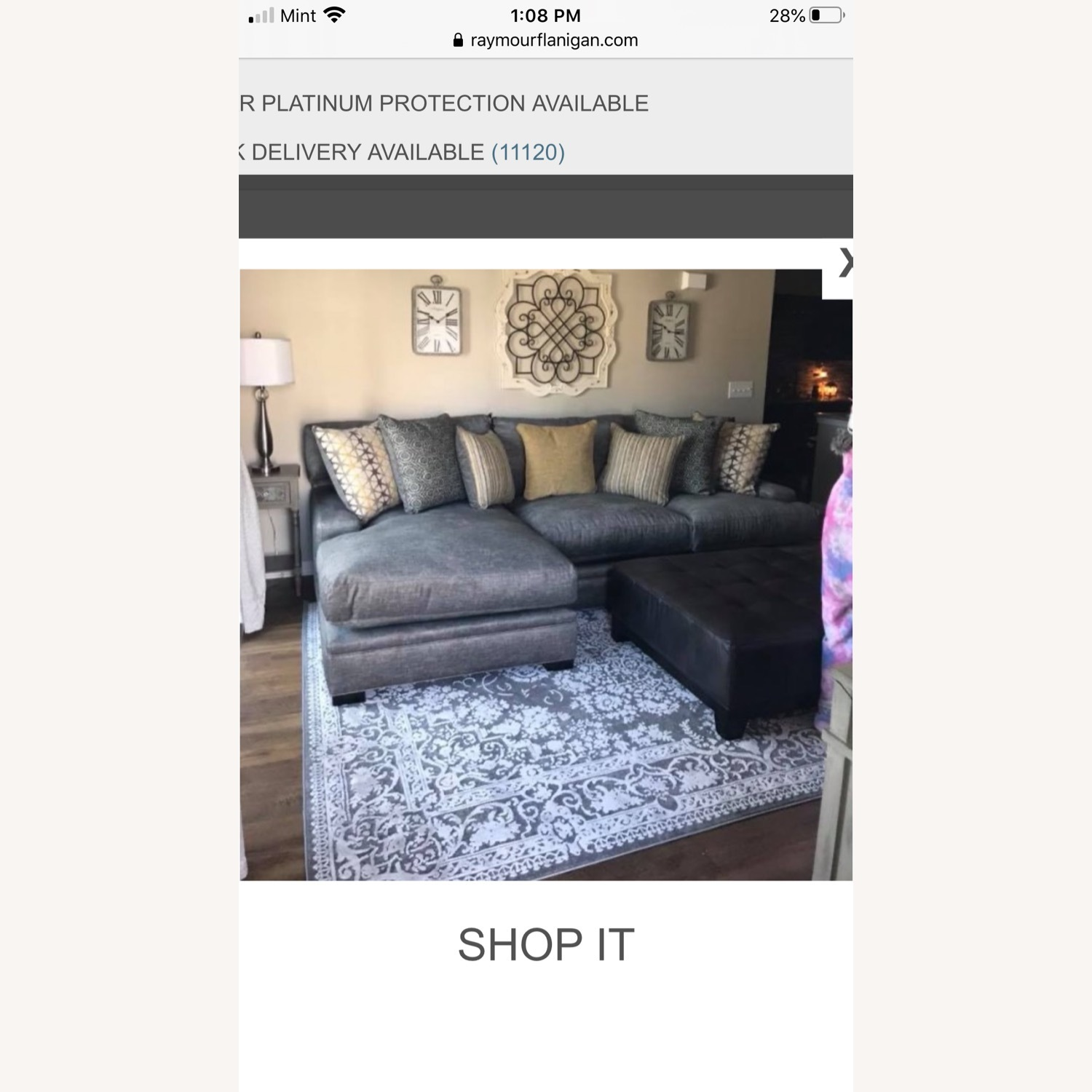 Raymour & Flanigan Love seat and LAF chaise Braelyn - image-1