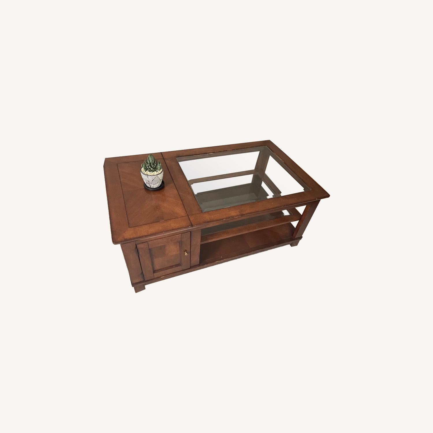 Brown Wooden Coffee Table with Glass Shelves - image-0