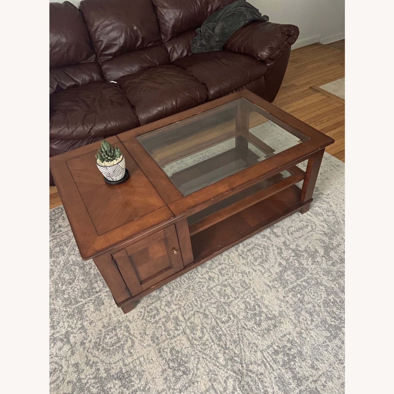Brown Wooden Coffee Table with Glass Shelves - image-1