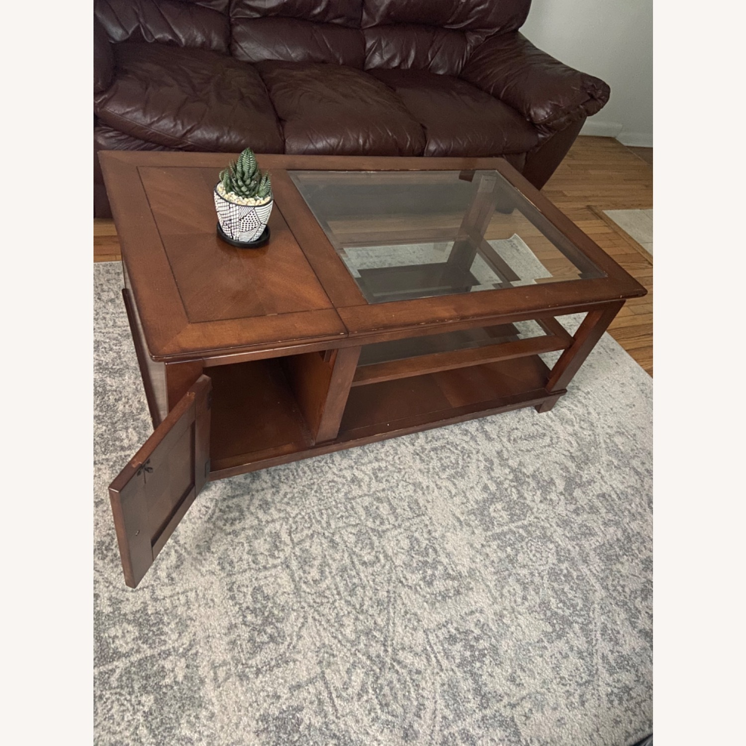 Brown Wooden Coffee Table with Glass Shelves - image-2
