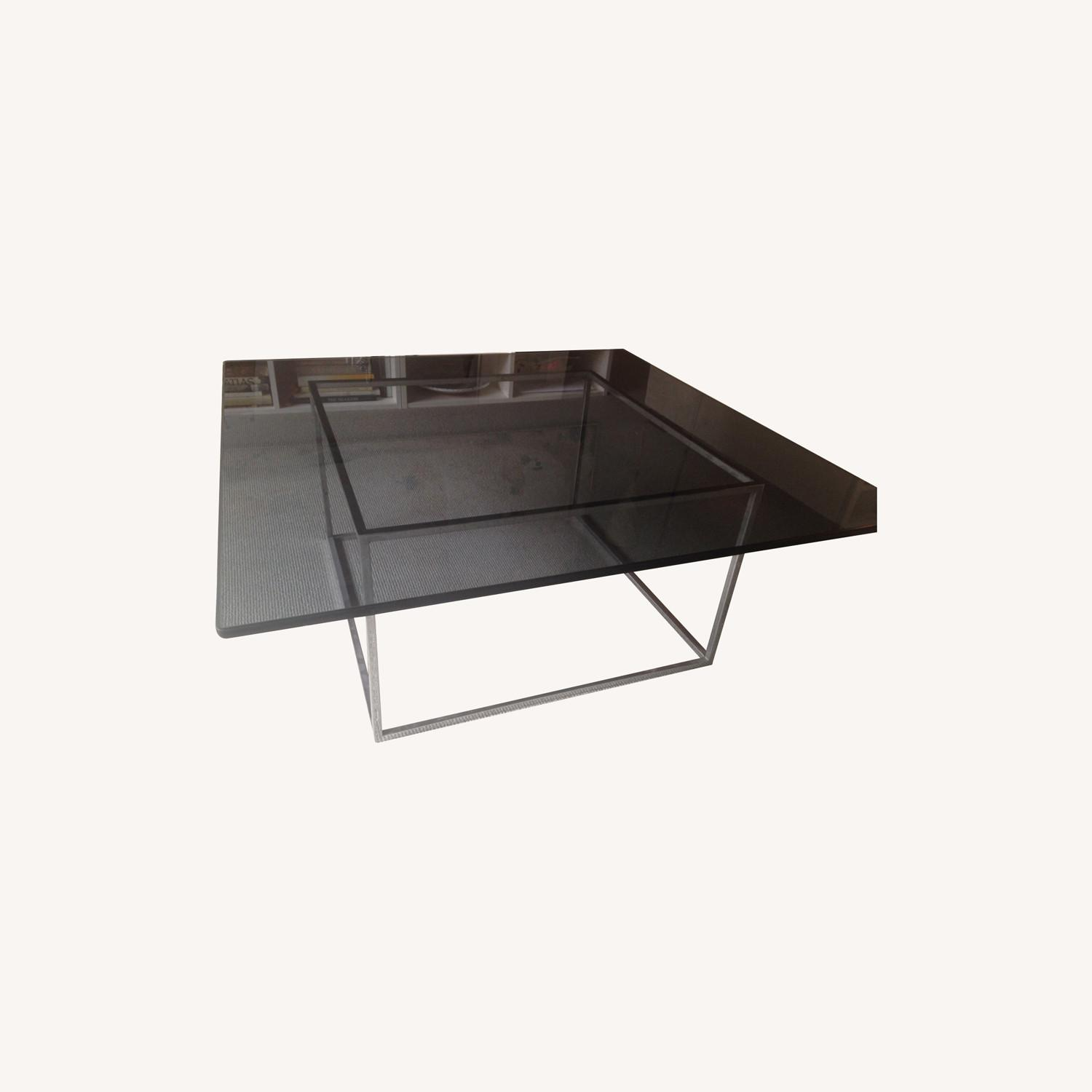 Square Smoked Glass Table w Chrome Base - image-0