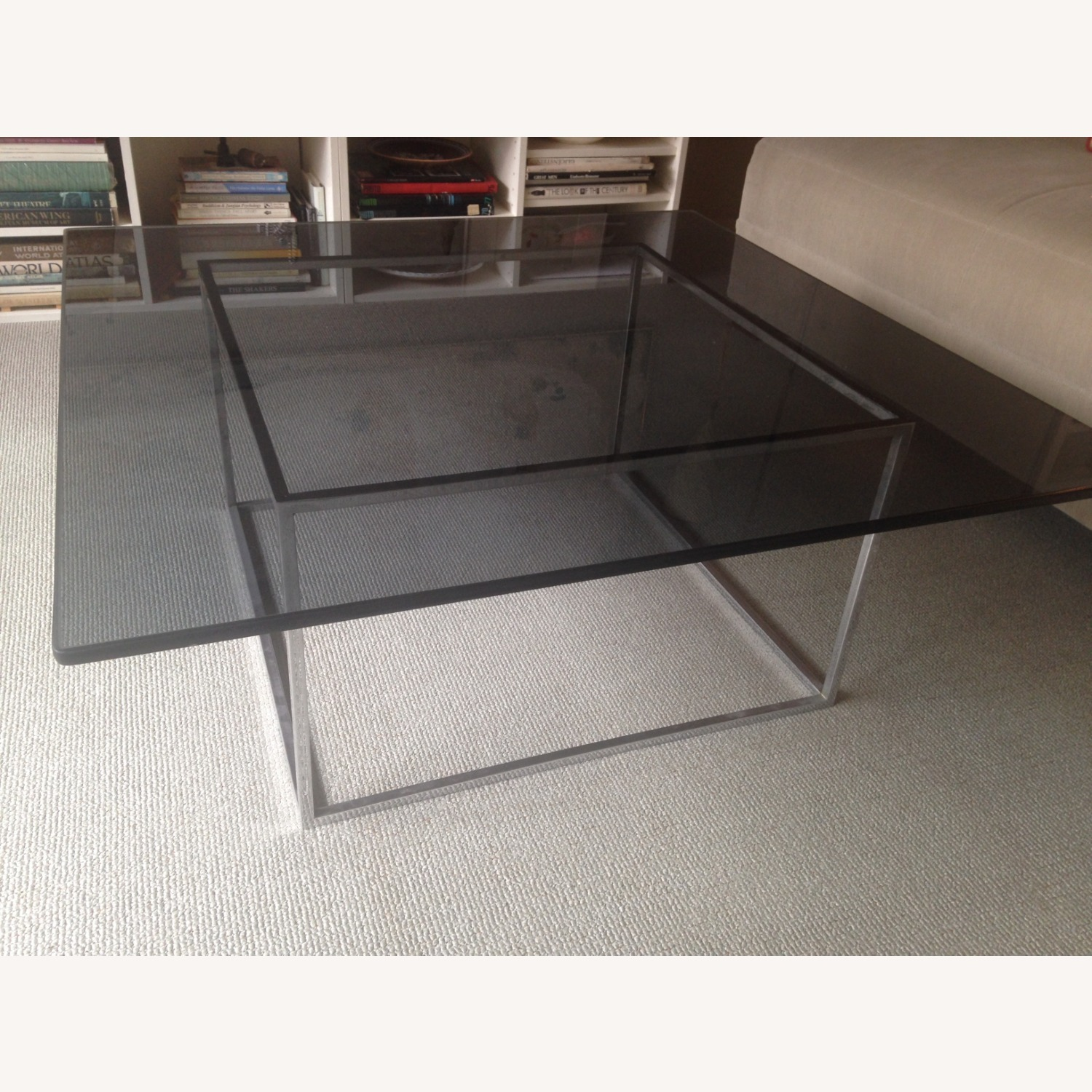 Square Smoked Glass Table w Chrome Base - image-1
