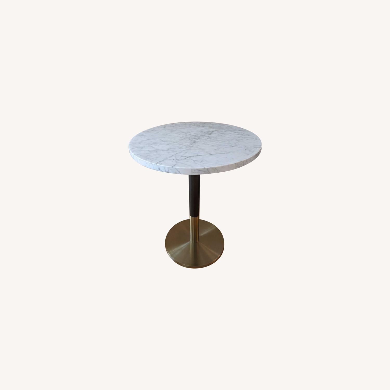 White Marble Round Continental Bistro Table Small Aptdeco