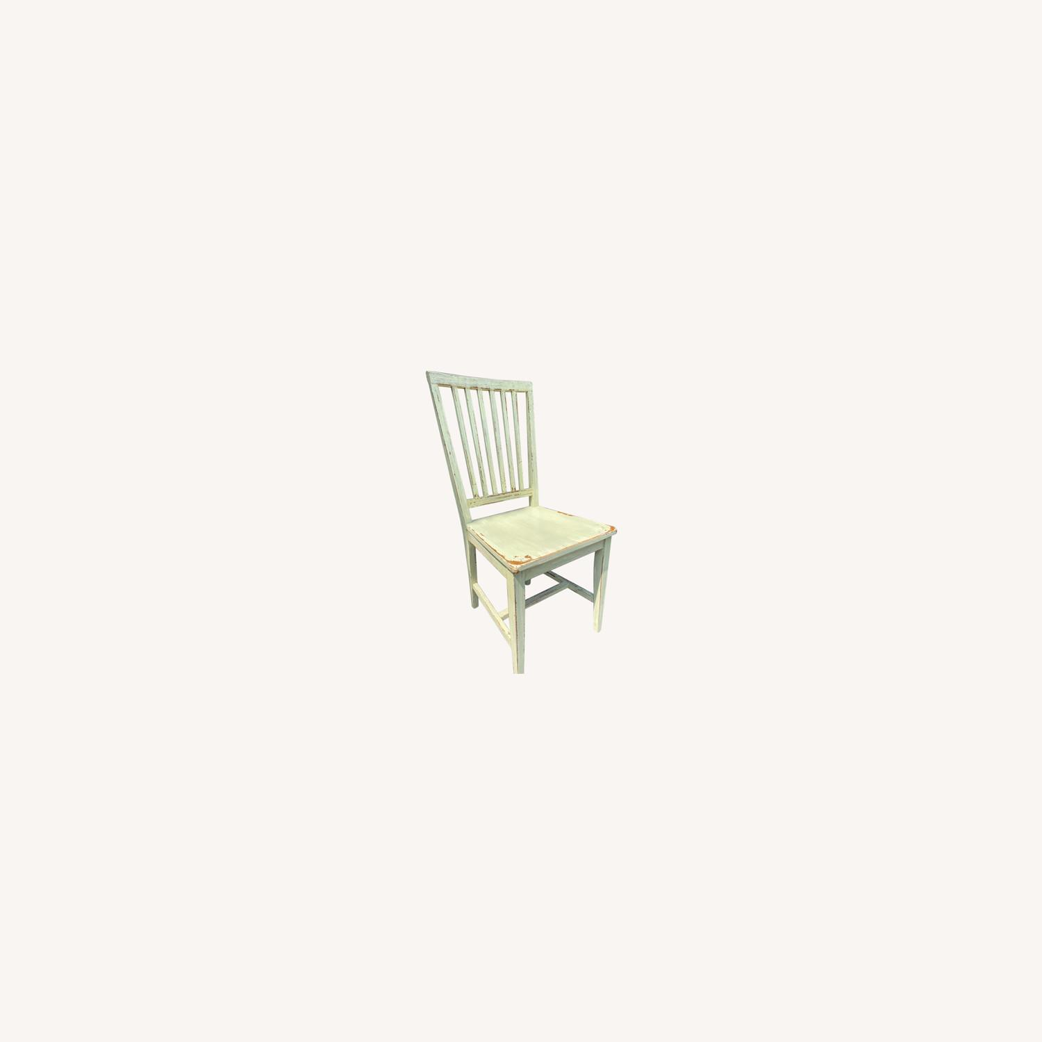 Crate & Barrel Distressed Sage Dining Chairs - image-0