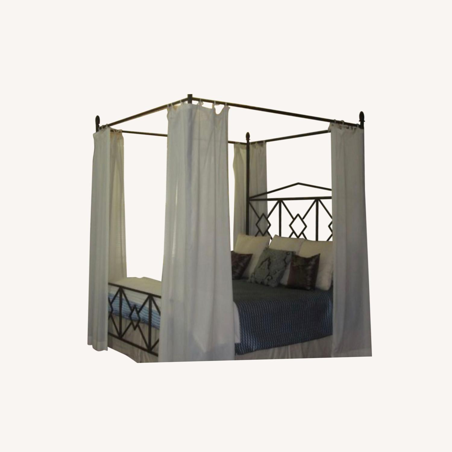 King Sized Canopy Iron Bed Frame - image-0