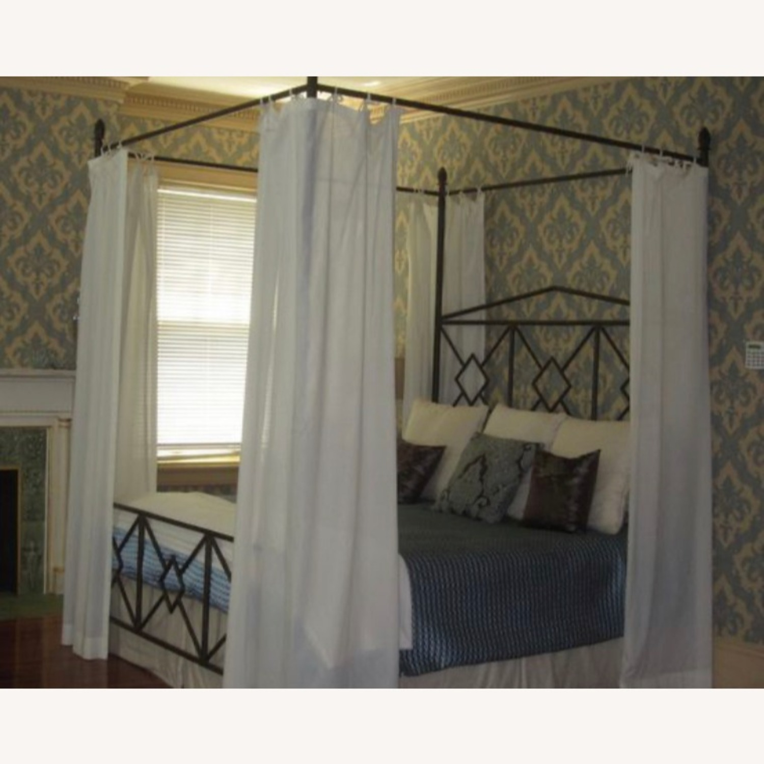 King Sized Canopy Iron Bed Frame - image-1