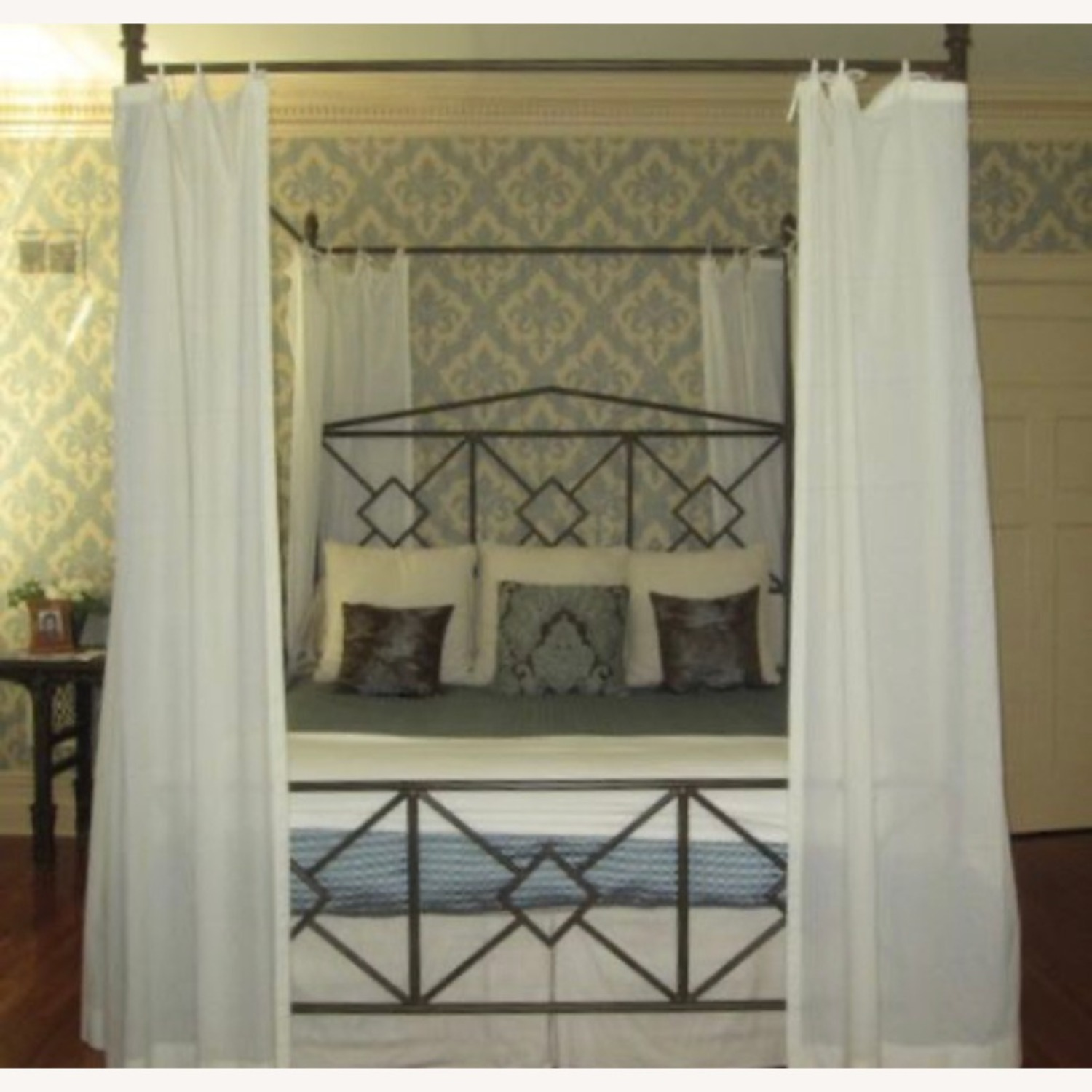 King Sized Canopy Iron Bed Frame - image-2