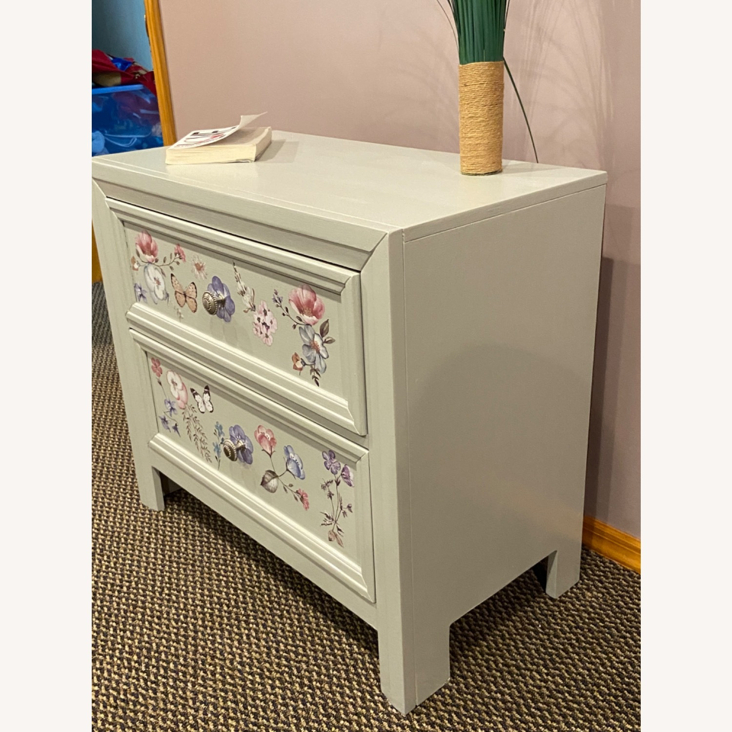 Up Cycled, Hand Painted Nightstand - image-5