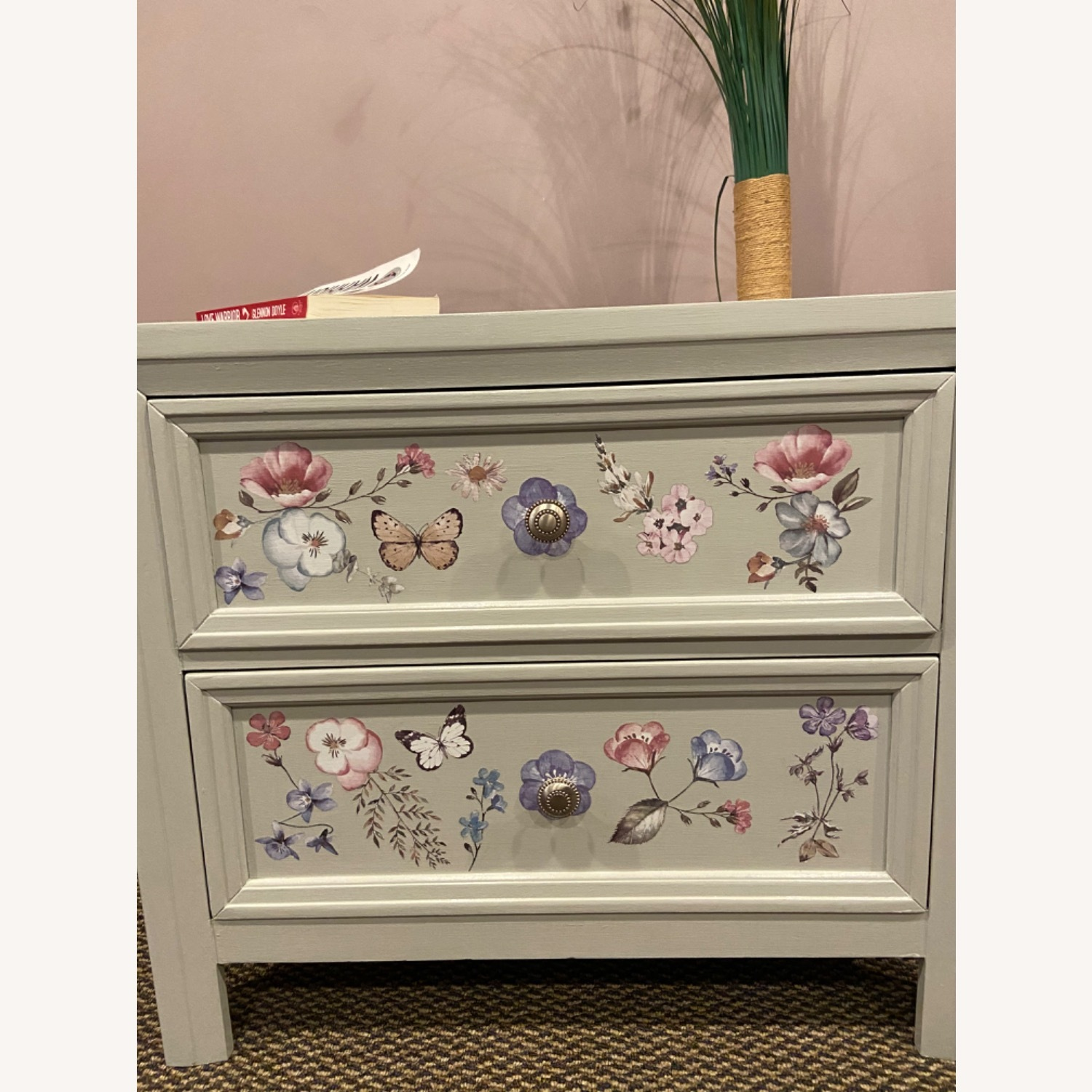 Up Cycled, Hand Painted Nightstand - image-2