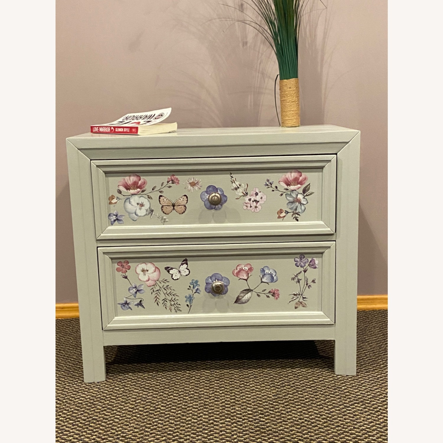 Up Cycled, Hand Painted Nightstand - image-1