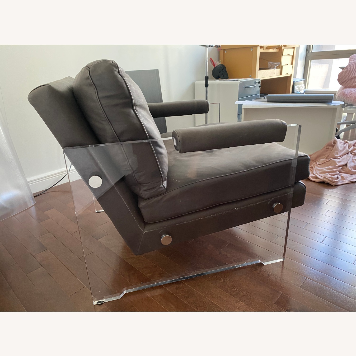 Restoration Hardware Leather Luca Chair - image-3