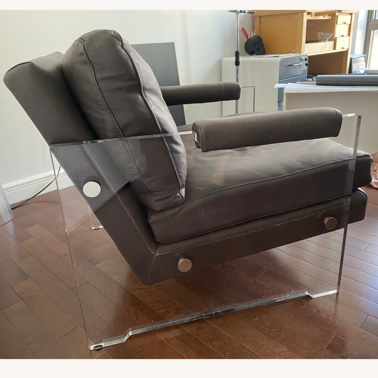 Restoration Hardware Leather Luca Chair - image-22