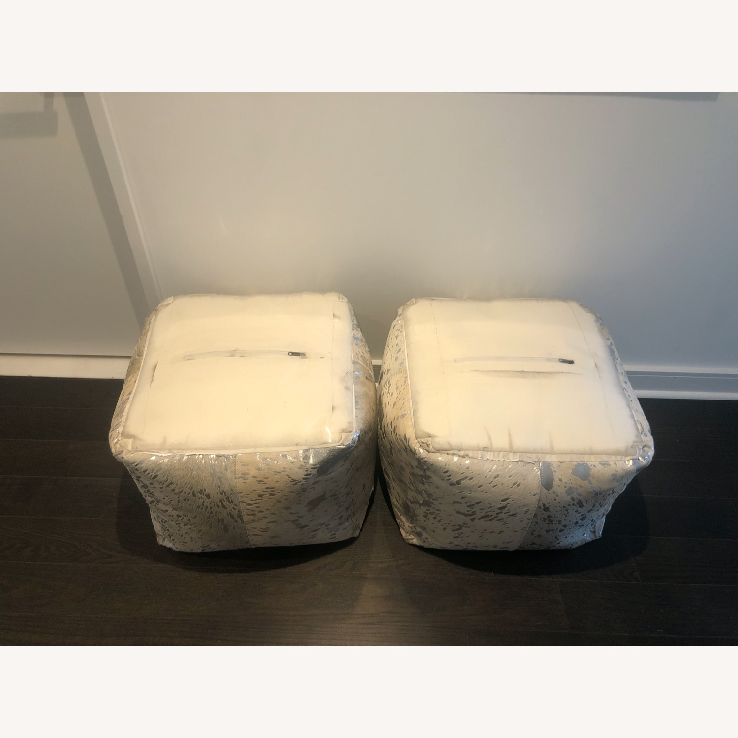 Restoration Hardware Metallic Hide Ottoman - image-3