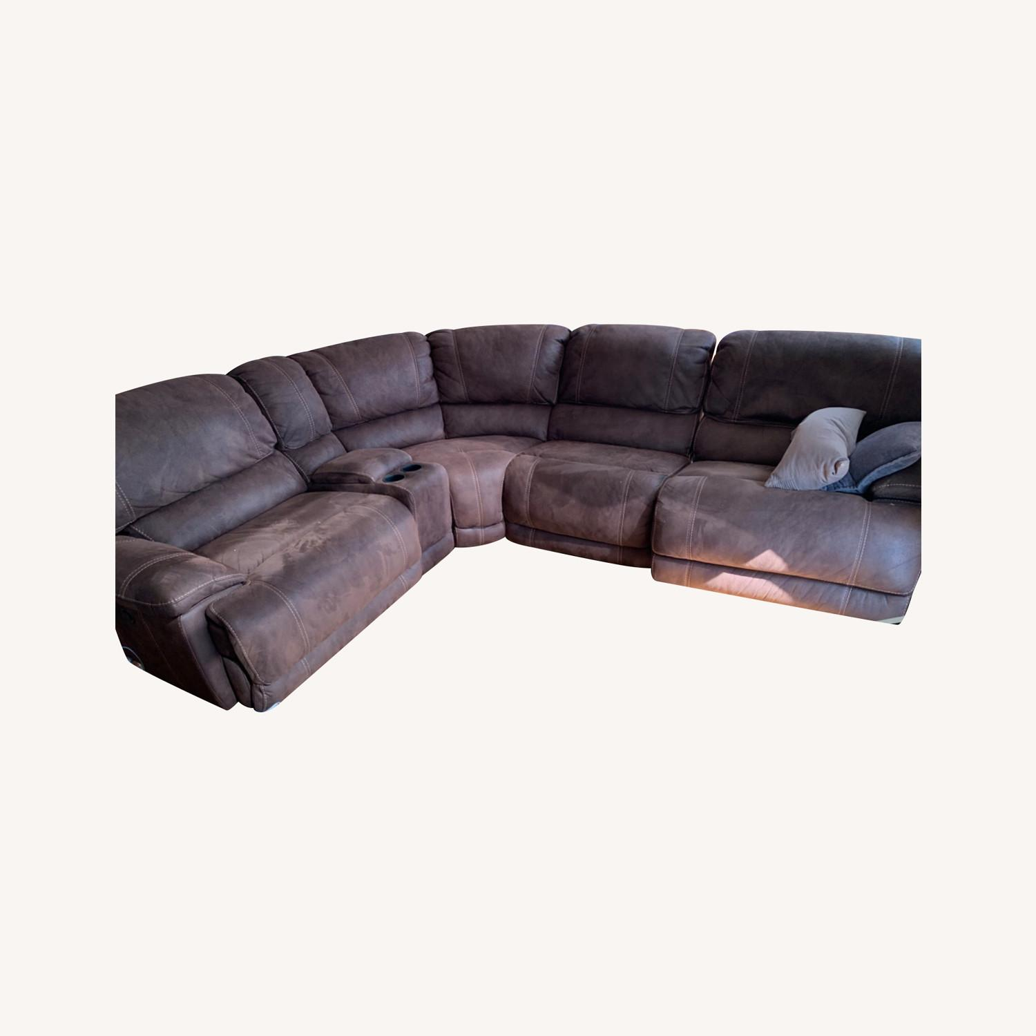 Pottery Barn Brown Leather 5 Piece Sectional - image-0