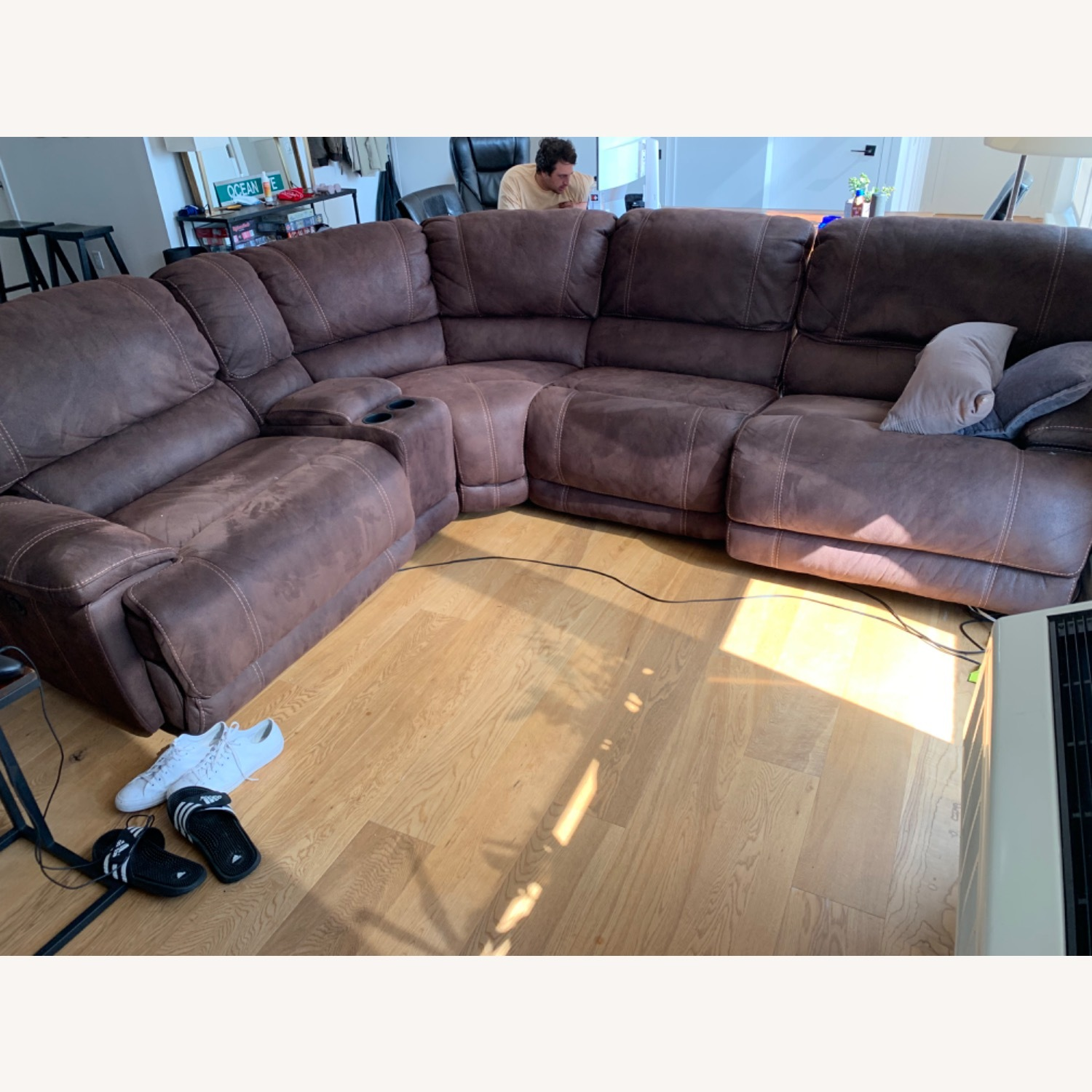 Pottery Barn Brown Leather 5 Piece Sectional - image-2