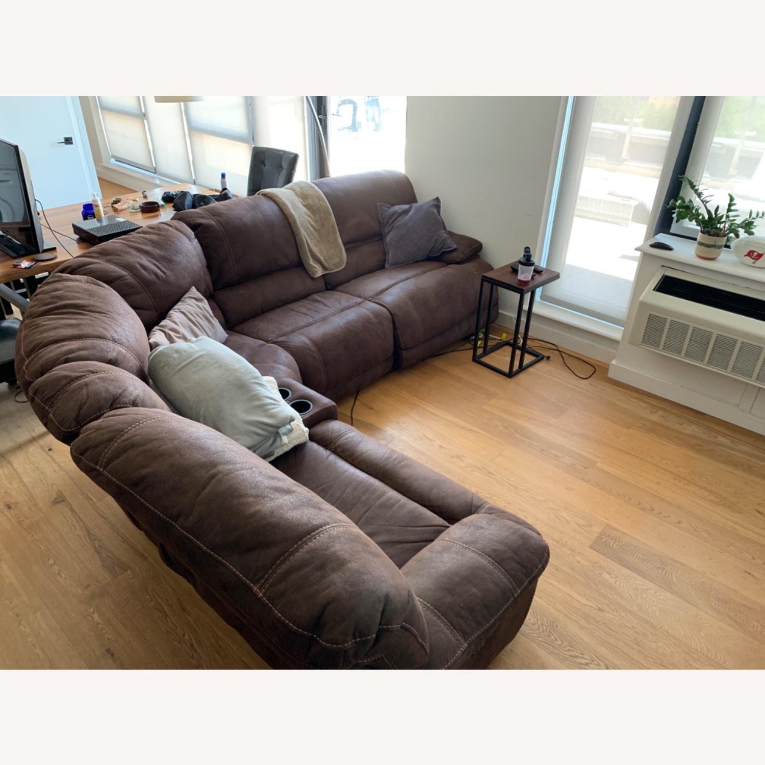 Pottery Barn Brown Leather 5 Piece Sectional - image-3