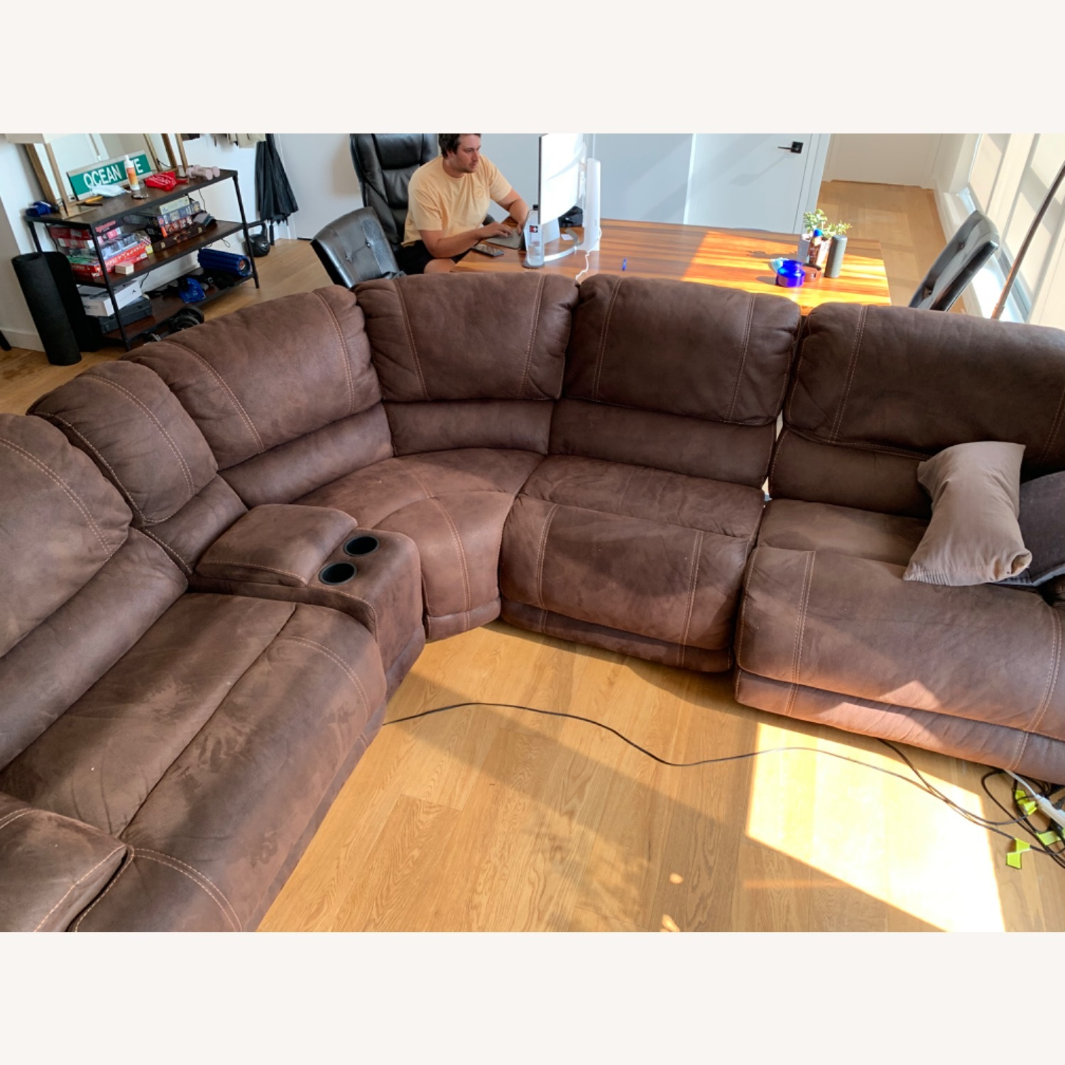 Pottery Barn Brown Leather 5 Piece Sectional - image-1