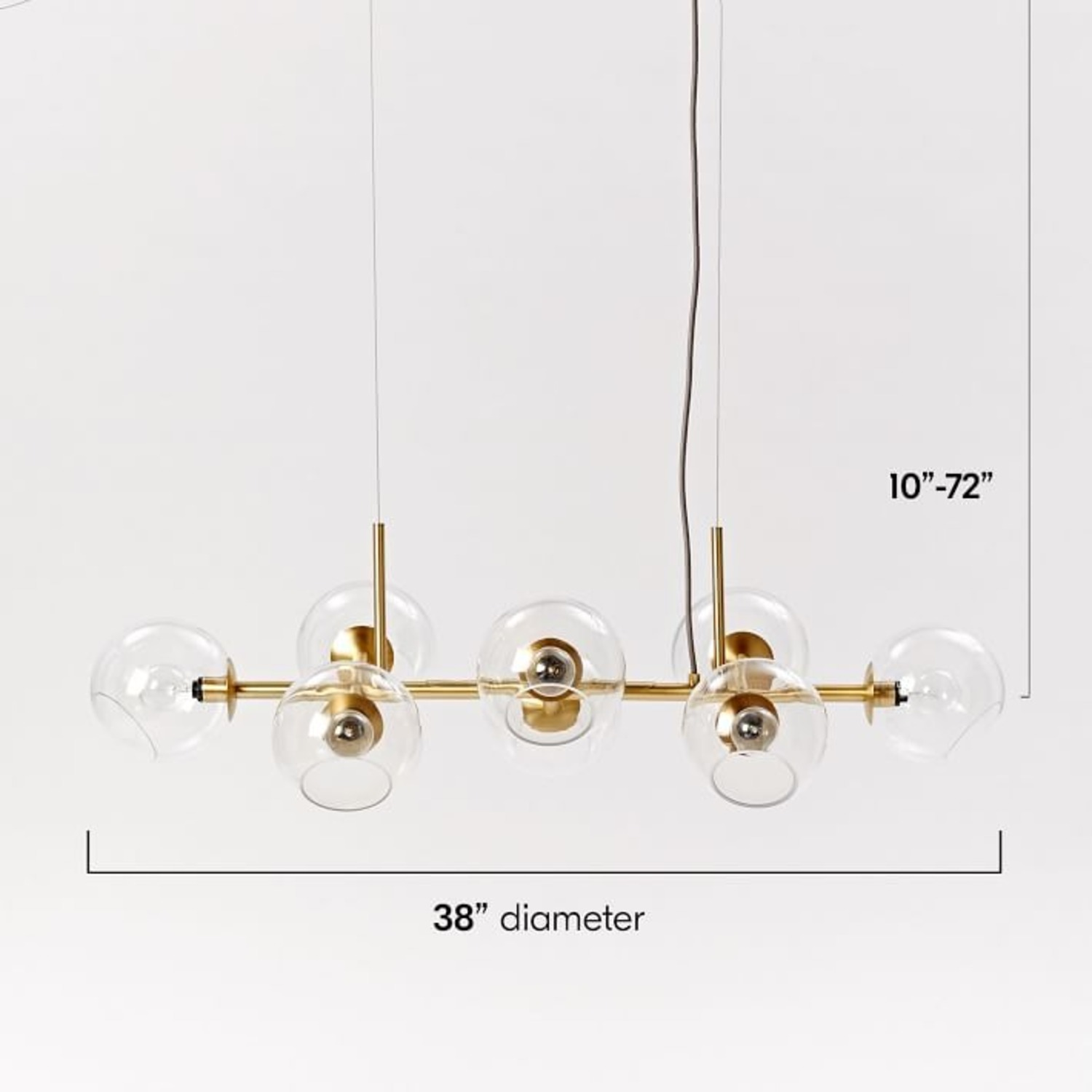 West Elm Staggered Glass 8-Light Chandelier - image-1