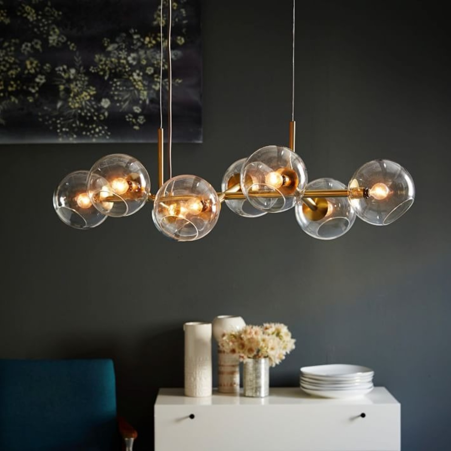 West Elm Staggered Glass 8-Light Chandelier - image-2