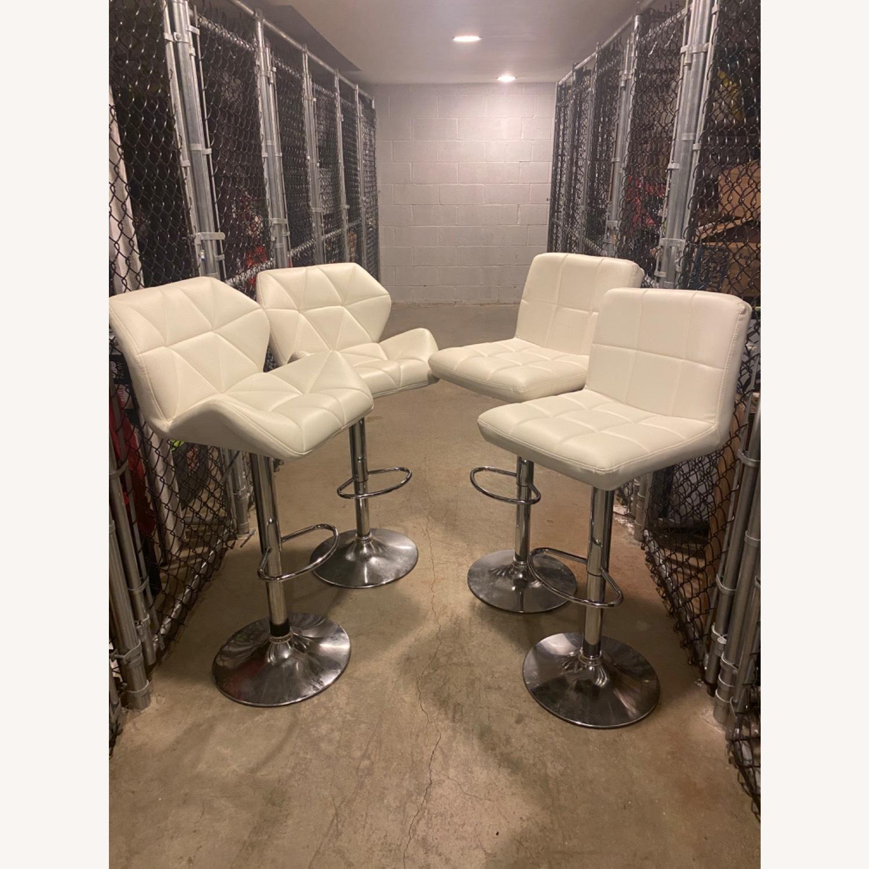 Wayfair Four White Leather Barstools - image-1