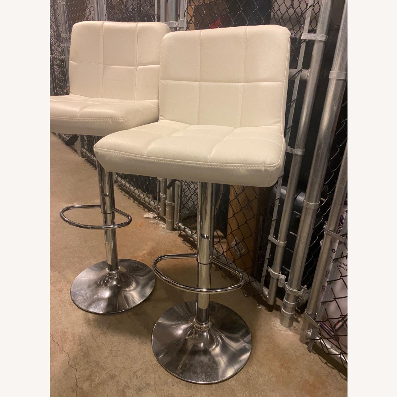 Wayfair Four White Leather Barstools - image-3