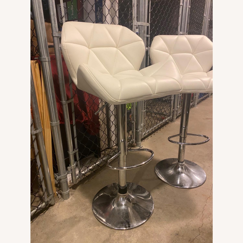 Wayfair Four White Leather Barstools - image-2