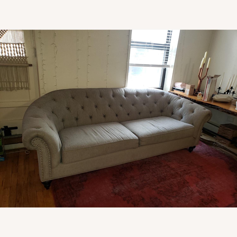 Raymour & Flanigan Gray Tufted Sofa - image-1
